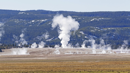Yellowstone hot springs and geysers