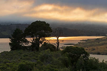 River along California coast Stock Photo