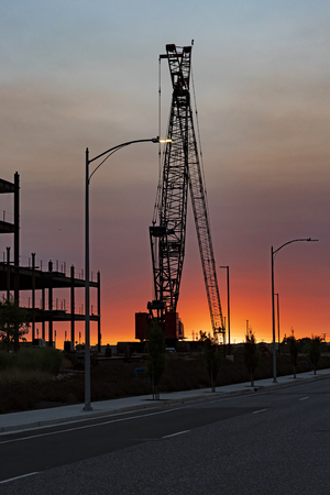 Construction crane at California building job site