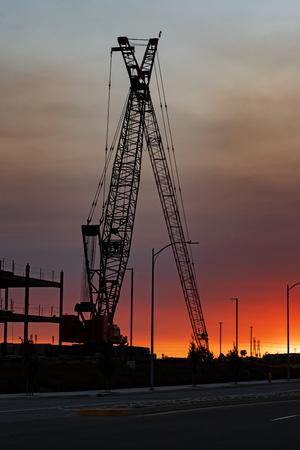 Construction crane at Northern California building job site
