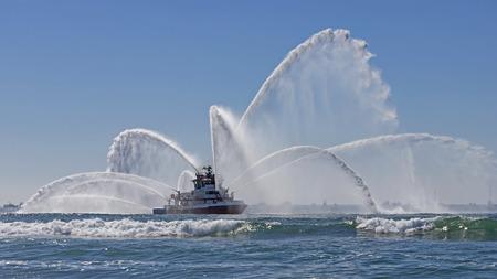 Fire boat at Huntington Beach
