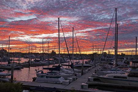 Sunset at Ventura Harbor during a fall twilight Banco de Imagens