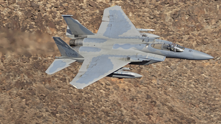 Jet fighter flying through Star Wars Canyon