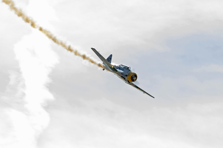 Airplane WWII trainer aircraft performs at San Diego Airshow