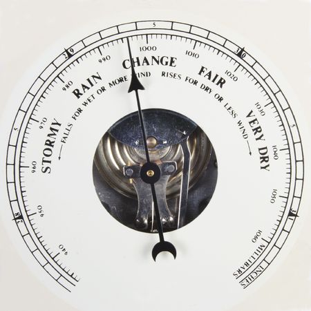 aneroid: A close up of an aneroid barometer scale pointing to change. Stock Photo