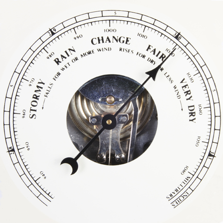 aneroid: Close up of barometer dial set to fair