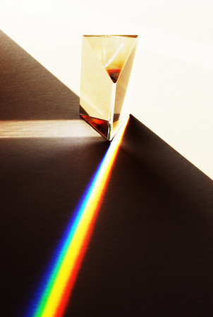 A prism illustrating the refraction of white light into the colours of the spectrum