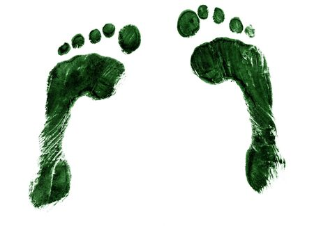 A pair of green ink footprints