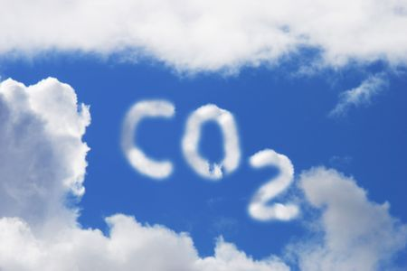 Carbon Dioxide symbol in blue sky and cloud