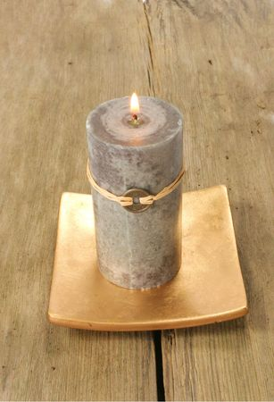 Feng Shui candle on rustic wood Stock Photo - 2914473