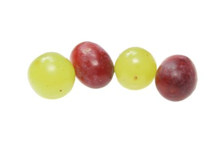 shiney: White and red grapes isolated on white