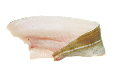 Fillet of Cod fish isolated on white Stock Photo