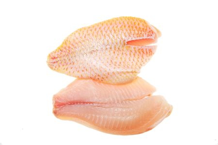 Red snapper fish fillets isolated on white