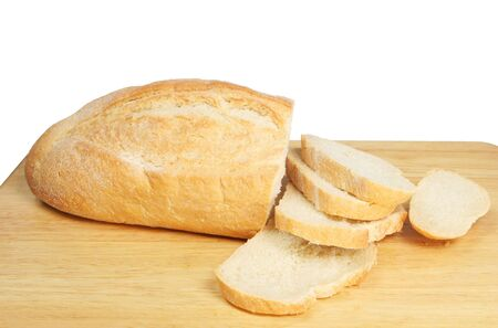 bloomer: Cut bread on a bread board