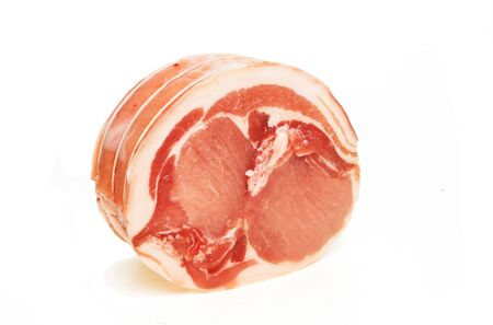Joint of loin of pork on white background Stock Photo