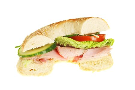 filled roll: Half a bagel roll filled with ham and salad