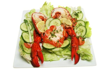 Cut cooked lobster with salad on a square plate Stock Photo - 4677325