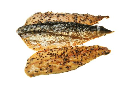 peppered: Smoked and peppered mackerel fillets isolated on white Stock Photo