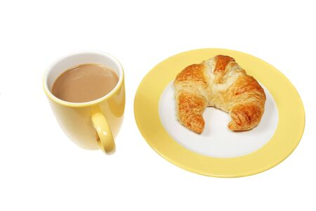 caffiene: Coffee and croissant on a plate isolated on white Stock Photo
