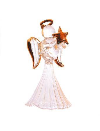 Christmas angel ornament isolated on white photo