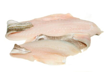 Cod and haddock fish fillets isolated on white