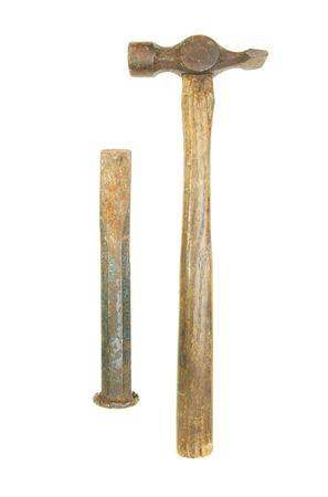 Old rusty hammer and chisel isolated on white Stock Photo - 4813070
