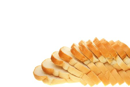 crusty: Crusty white sliced bread copy space above and left