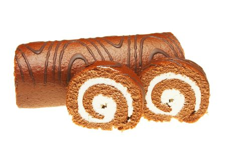 Chocolate swiss roll with slices isolated on white Stock Photo