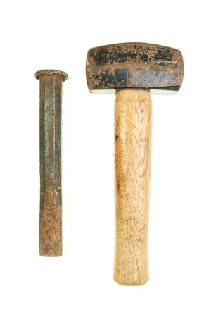 Well used lump hammer and cold chisel isolated on white Stock Photo - 4966495