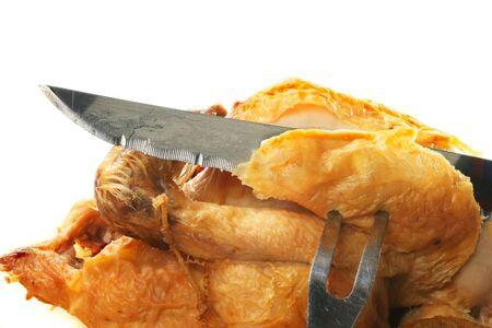 protien: Closeup of carving a roast chicken