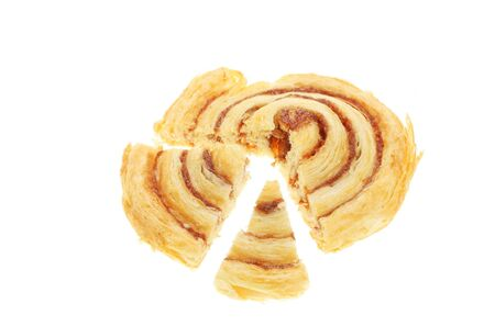 Danish pastry cut into sections to form a pie chart photo