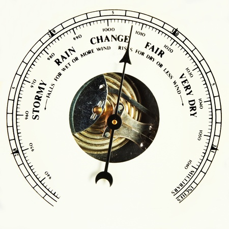 aneroid: Closeup of an aneroid barometer dial set to change