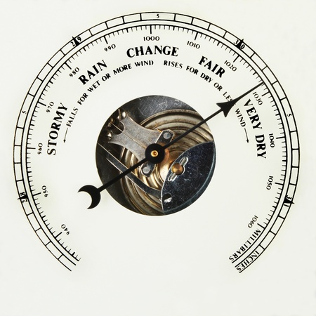 aneroid: Closeup of the dial of an aneroid barometer set to very dry Stock Photo