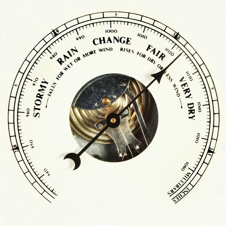 aneroid: Closeup of the dial of an aneroid barometer set to fair Stock Photo