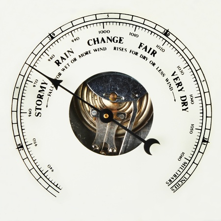 aneroid: Closeup of the dial of an aneroid barometer set to stormy