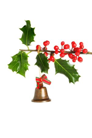 fruiting: Brass bell Christmas tree ornament hanging from a fruiting holly branch Stock Photo