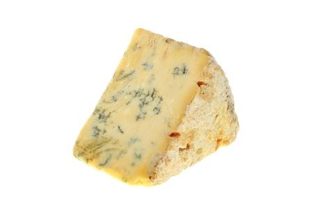 stilton: Wedge of Stilton cheese isolated against white Stock Photo