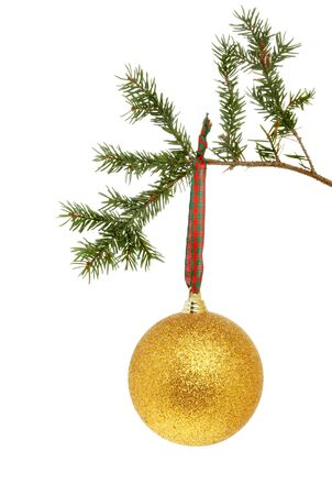 Gold glitter Christmas bauble hanging from a fir tree branch isolated against white Stock Photo - 11426242