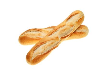 Dwie świeżo upieczony chleb bagietka rolkach na białym tle Zdjęcie Seryjne