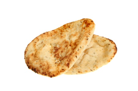 naan: Two naan breads isolated against white