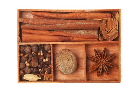 compartments: Spices in a wooden tray with compartments isolated against white