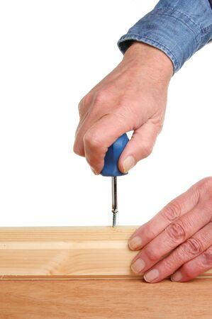 Closeup of hands with a screwdriver fixing a screw into wood Stock Photo - 14771256