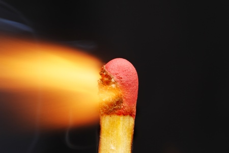 ignited: Super closeup of the flame from a freshly ignited match