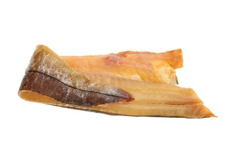 Filet vom ger�uchertem Schellfisch gegen wei�e isoliert