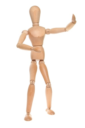 artists dummy: Artists wooden dummy in a martial arts pose isolated against white