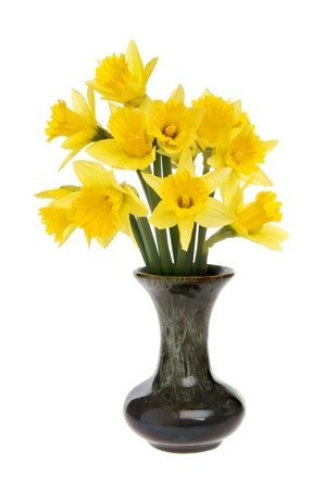 Bunch Of Daffodils In A Vase Isolated Against White Stock Photo