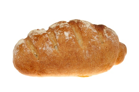 bloomer: Fresh home baked bloomer bread loaf isolated against white Stock Photo