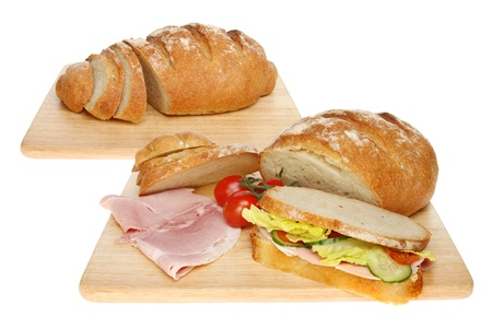 bloomer: Composite image of a bloomer bread loaf and sandwich ingredients