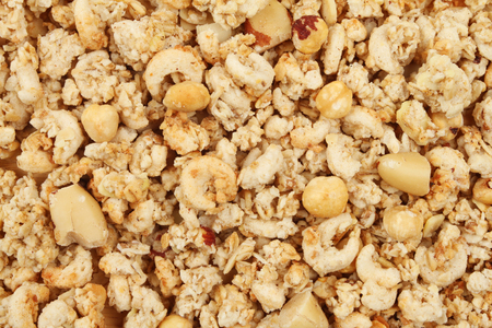Crunchy nut cluster cereal as a background and texture Stock Photo