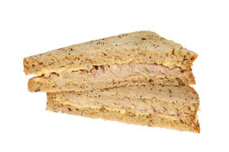 multi grain sandwich: Tuna mayonnaise sanwich with multi grain bread isolated against white Stock Photo